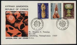 Cyprus 445-7 on addressed FDC - EUROPA, Art, Byzantine Goblet