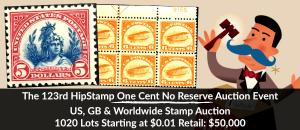 The 123rd HipStamp One Cent Auction Event