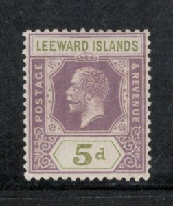 Leeward Islands 1922 King George V 5p Scott # 74 MH