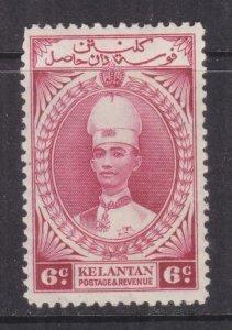 KELANTAN, 1937 Sultan Ismail, 6c. Lake, lhm., small thin spot.