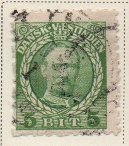 Danish West Indies Sc 43 1908 5 bit green Frederik VIII stamp used