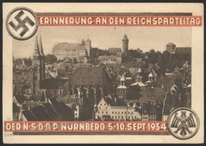 3rd Reich Germany 1934 Reichsparteitag Party Rally Propaganda Card USED E 103151