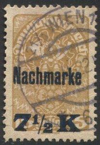 AUSTRIA 1921  Sc J102  7-1/2k on 15h  Postage Due Used, VF
