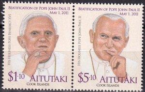 Aitutaki #580 MNH Pair  CV $10.50  (Z8870)