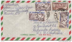 Mexico 50c Eagle Holding Scales and 1P Allegory (3) 1957 Airmail to Lakemba, ...
