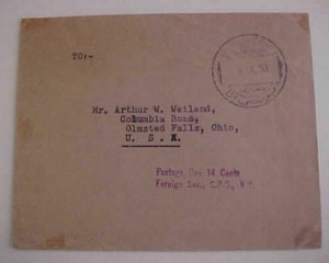 LIBYA 1953 BENGASI  BERENICEN #1 TO USA POSTAGE DUE HANDSTAMP OFFICIAL CYRENAICA