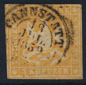 WÜRTTEMBERG - 1859 -  CANNSTATT  Stempel auf Mi.7a 3 Kr. orangegelb