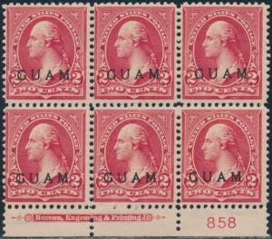GUAM #2 LOWER PLATE NO. BLK/6 W/ IMPRINT F-VF OG TROPICAL GUM CV $300 BR5767