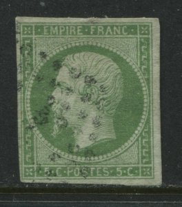 France 1854 5 centimes green on greenish used