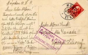 Canada Bavaria 10pf Luitpold 1914 Muncehn 13 PPC to Calgary with A Calgary, A...