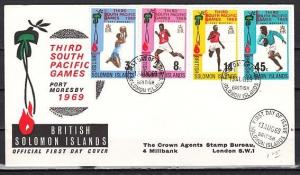 Solomon Is., Scott cat. 198-201. South Pacific Games issue. First day cover.