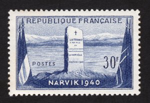 FRANCE #677 BATTLE OF NARVIK ⭐ FLAGS AND MONUMENT ISSUE ⭐ MNH-OG 1952
