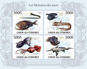 COMORES 2010 SHEET MONSTERS SEAS MONSTRES DE MERS FISHES MARINE LIFE cm10124a