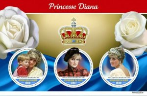 Niger - 2020 Diana Princess of Wales - 3 Stamp Sheet - NIG200203a