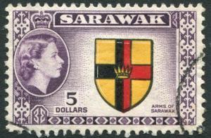 SARAWAK-1957 $5 Black, Yellow, Red & Purple Sg 202 FINE USED V21959