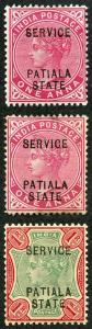ICS PATIALA Official SGO20/O21 1902 Set of 2 (plus 1a shade) 1r toned m/mint