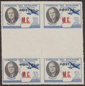 ECUADOR 1949 ROOSEVELT OFFICIAL Bts O225A PIN PERF GUTTER BLOCK OF FOUR MNH RARE