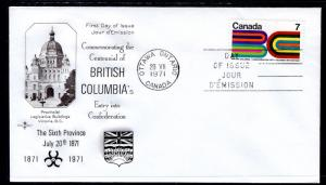 Canada 552 British Columbia Rose Craft U/A FDC