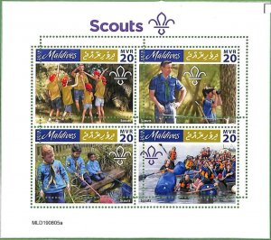 A2198 - MALDIVES - ERROR: MISPERF, Miniature sheet - 2019, Boy Scouts, Canoeing