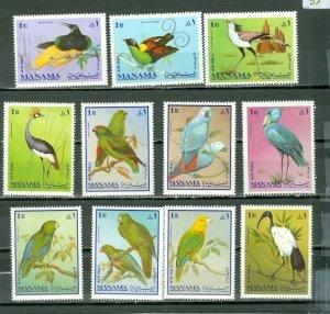 MANAMA BIRDS SET of (11) MNH