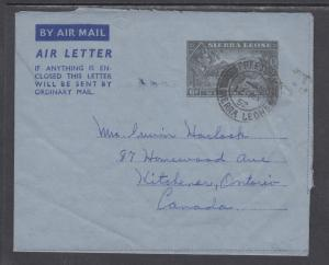 Sierra Leone Kessler 3 used 1951 6p KEVII Aerogramme to Ontario, Canada