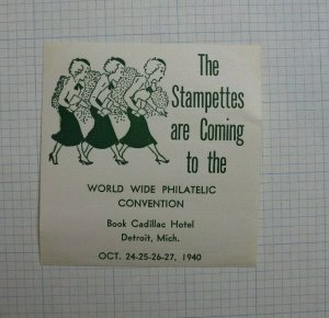 1940 World Wide Philatelic Convention Detroit MI The Stampettes Souvenir Label