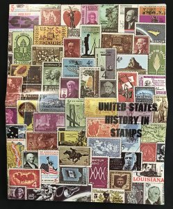 """US History in Stamps """"Album"""" 8 pages NO stamps Folded 14x11 L35"""
