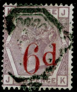 SG162, 6d on 6d lilac plate 18, USED. Cat £150. JK