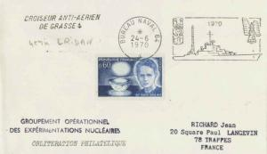 France 60c Marie Curie 1970 Bureau Naval 64 Illustrated cancel to Trappes wit...