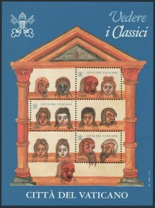 Vatican 1045 sheet,MNH.Michel 1214-1216 Bl.17. Masks from Comedies,Terrence,1997