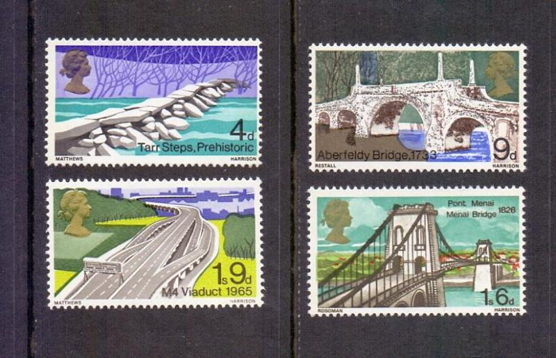 Great Britain  #560-563  1968 MNH British bridges complete