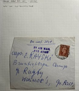 1948 Polish Middle East Forces British PO ON Active Service Cover To Warwick UK