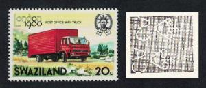 Swaziland Post Office Mail Truck Watermark variety 20c SG#356w