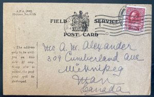 1916 Canadian Army Overseas England Postcard Cover To Winnipeg Canada WWI