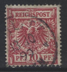 GERMANY. -Scott 48 - Definitives -1889 -Used - Carmine -Single 10pf Stamp3