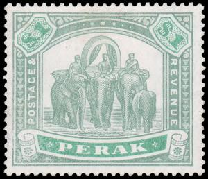 MALAYA - PERAK 1895 $1 GREEN & LIGHT GREEN MINT #57 HR corner crease CV$325.00