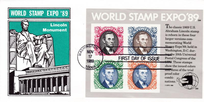 United States 1989 World Stamp Expo Sheet on First Day Cover Abraham Lincoln