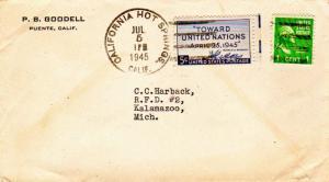 United States California California Hot Springs 1945 4f-bar  1c Washington Pr...