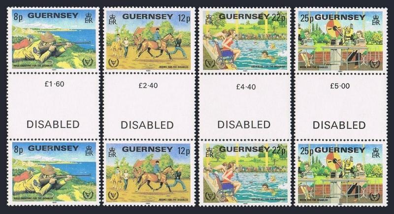 Guernsey 232-235 gutter,MNH.Michel 237-240. Year of the Disabled,1981