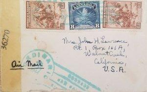 A) 1944, EL SALVADOR, COFFEE, IZOTE FLOWER, AIRMAIL, LETTER SENT TO CALIFORNIA U