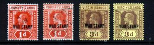 VIRGIN ISLANDS King George V 1916-19 WAR STAMP Set SG 78, 78a, 79a & 79b VFU