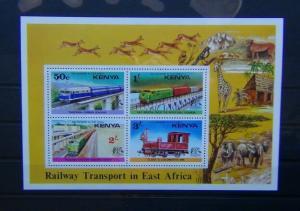 Kenya 1976 Railway Transport Miniature Sheet MNH