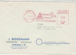 Germany 1959 Lenhausen Cancel Metal Cast Fittings Machine Stamps Cover Ref 29175