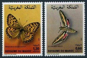 Morocco 528-529,MNH.Michel 996-997. Butterflies 1982.Celerio oken lineata,