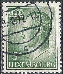Luxembourg 427 (used) 5fr Grand Duke Jean (1971)
