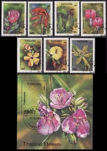 Tanzania Tropical Flowers 7v+MS CTO SG#1917-MS1924 SC#1295-1302