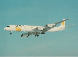 7633 Aviation Postcard  SCANAIR DC-8-63 SE-DBL. STOCKOLM- ARLANDA  Airlines