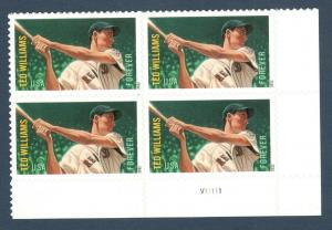 4694 Ted Williams Bottom Plate Block Mint/nh FREE SHIPPING