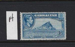 GIBRALTAR SCOTT #111A 1938-49 GEORGE VI- 3D (BLUE)-  PERF 14  - MINT LH