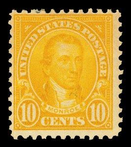 Scott 562 1923 10c Monroe Flat Plate Mint Fine OG LH Cat $13.50